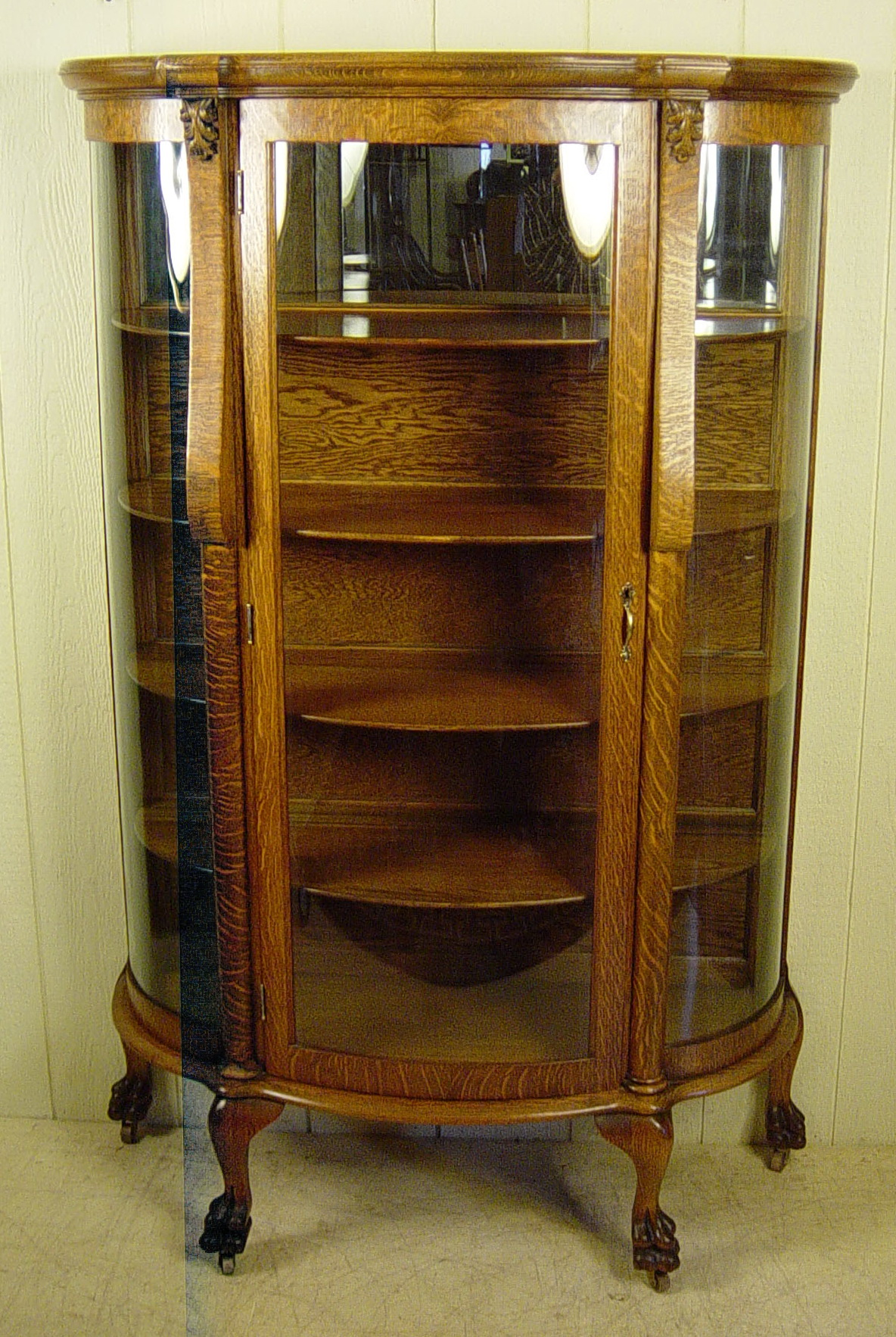 Antique China Cabinet Curved Glass