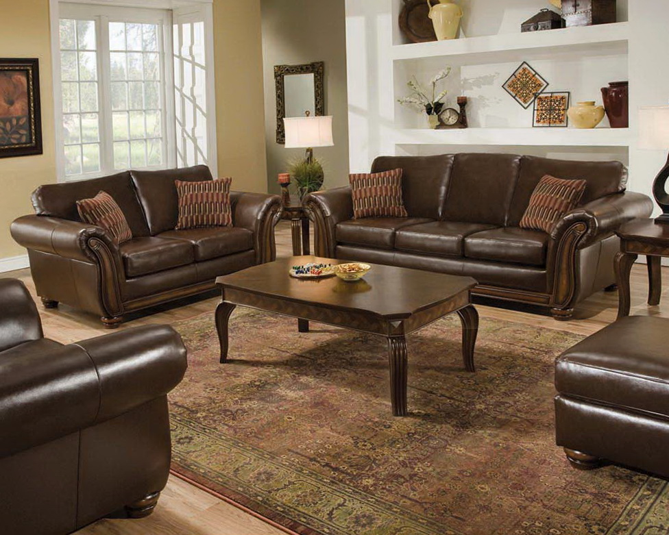 Antique Leather Living Room Set