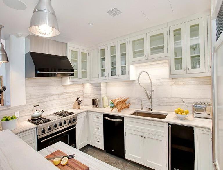 Antique White Kitchen Cabinets With Black Appliances