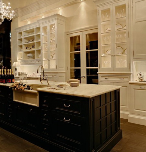 Antique White Kitchen Cabinets With Black Island