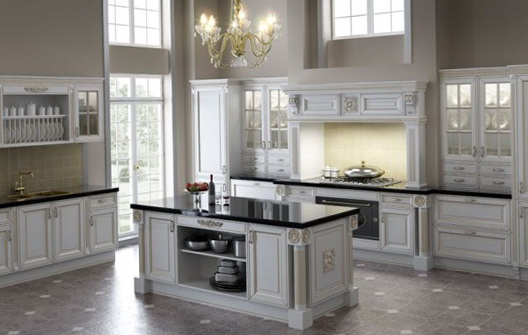 Antique White Kitchen Cabinets With White Appliances
