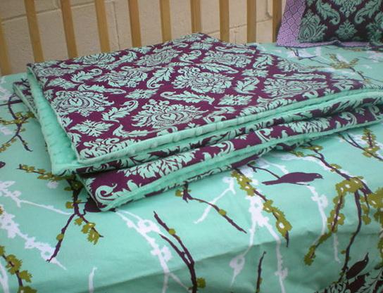 Aqua And Purple Baby Bedding