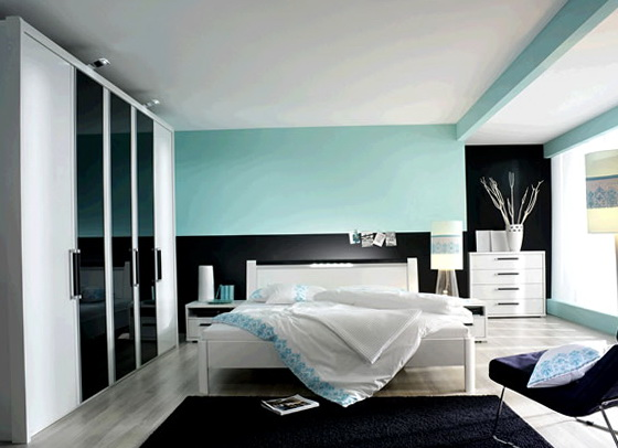 Beach Theme Bedroom With Dark Furniture