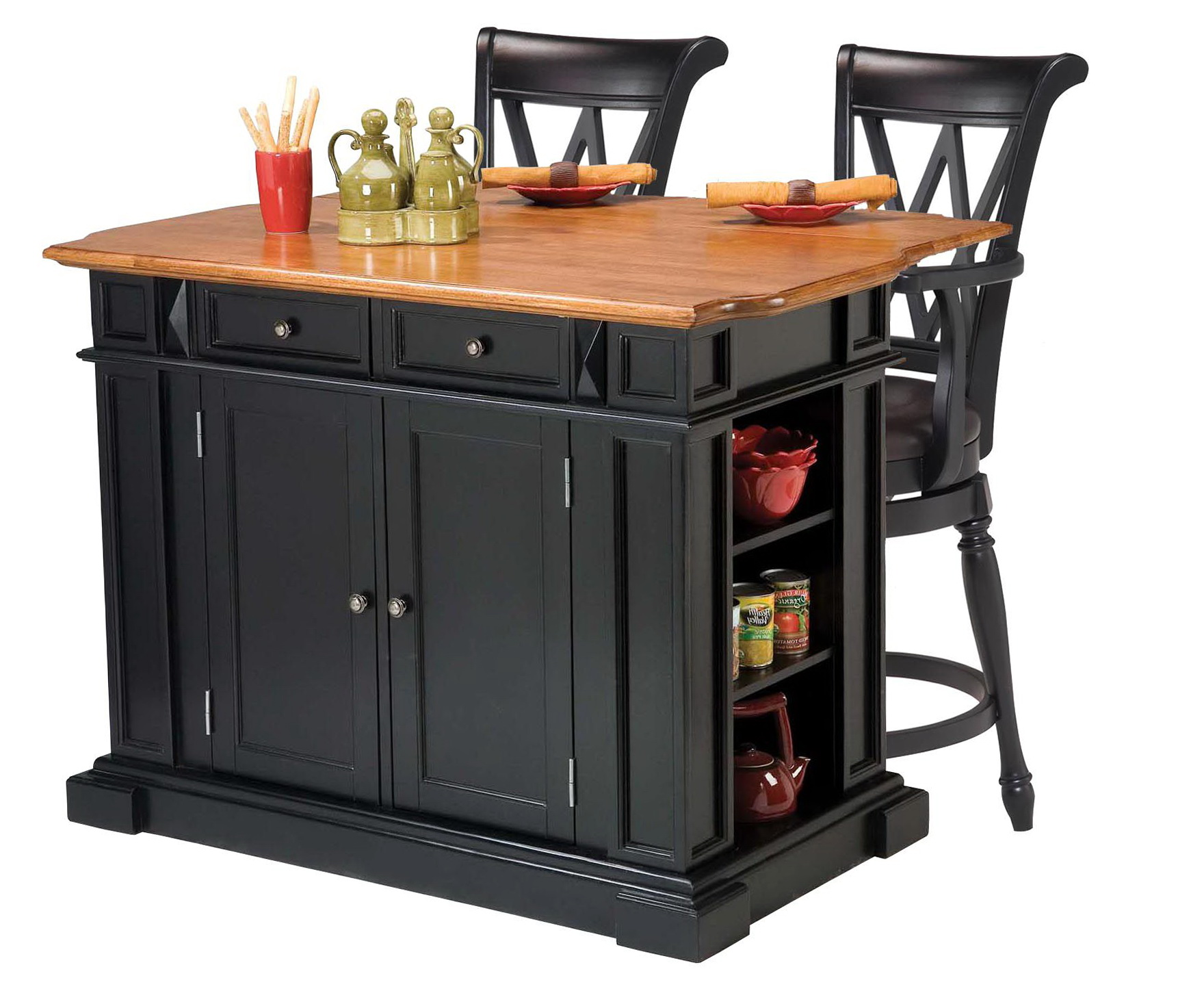 Black Kitchen Island With Stools