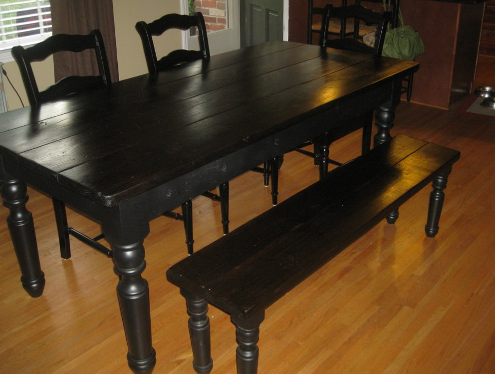 Black Kitchen Table With Bench