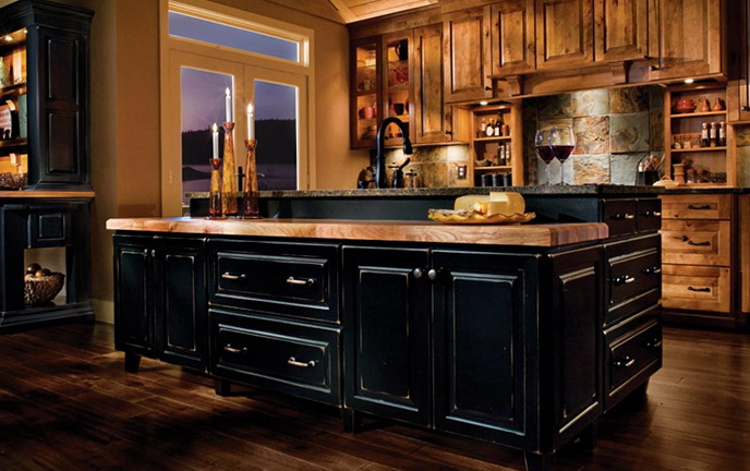 Black Rustic Kitchen Cabinets
