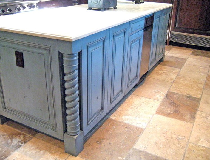 Blue Distressed Kitchen Cabinets