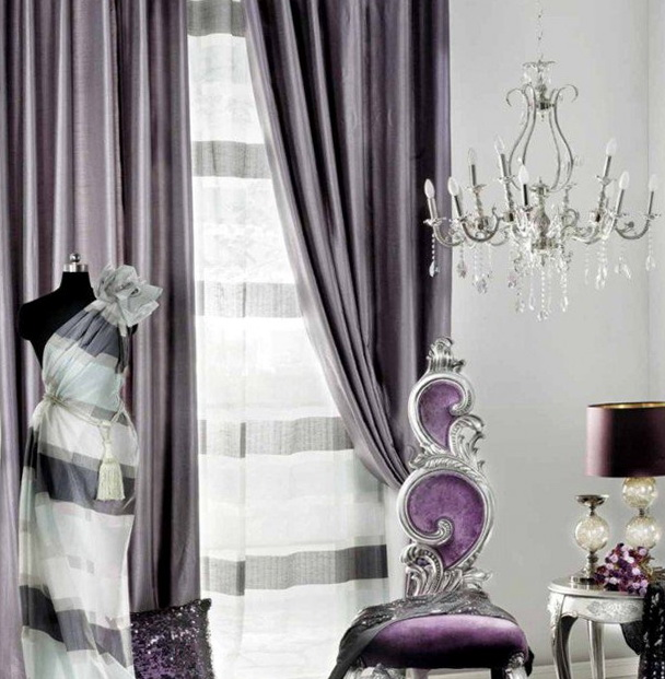 Contemporary Living Room Drapes