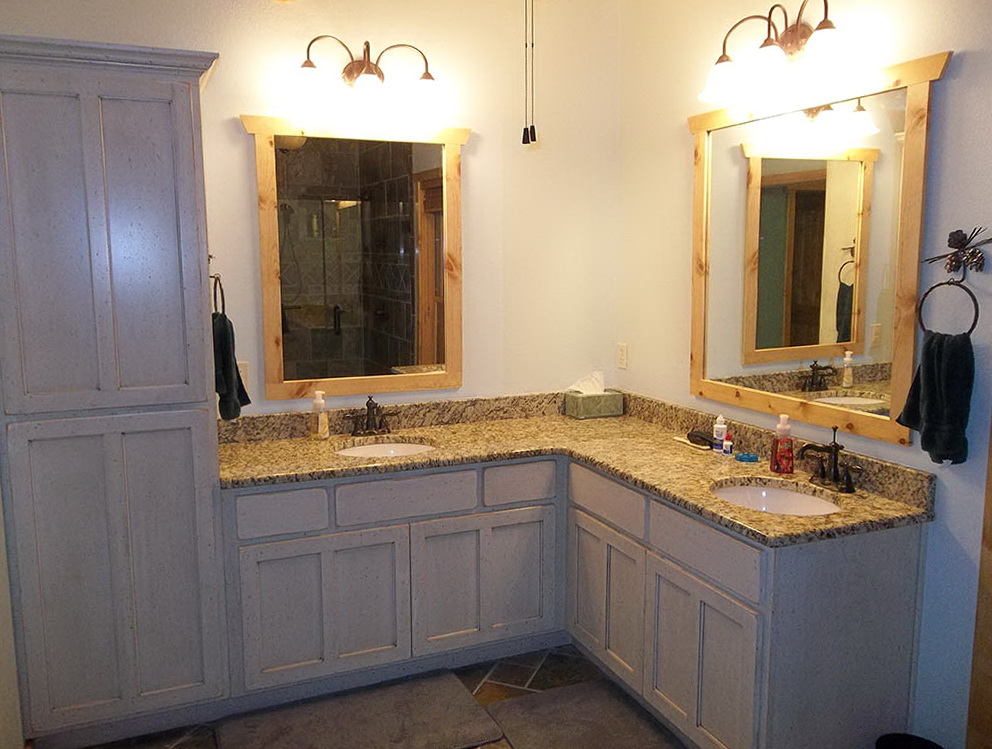 Corner Bathroom Vanity Double Sinks