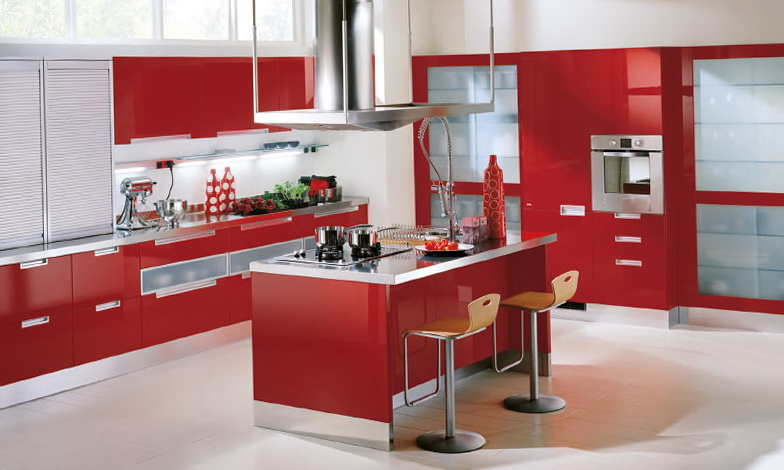 Country Red Kitchen Cabinets