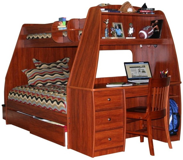 Full Loft Bed With Desk And Storage
