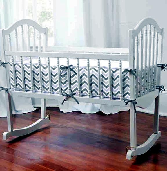 Gray And White Chevron Baby Bedding1