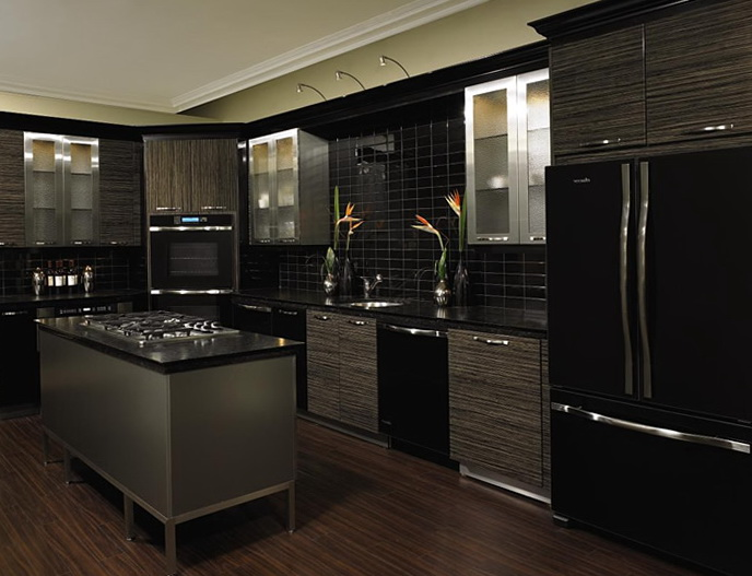Gray Kitchen Cabinets Black Appliances
