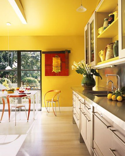 Gray Kitchen Cabinets Yellow Walls