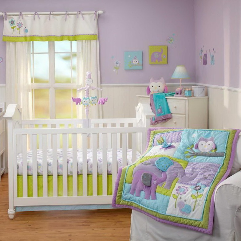 Green And Purple Crib Bedding