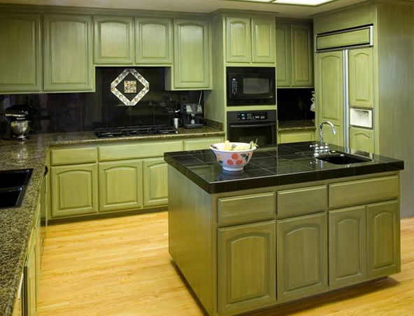 Green Kitchen Cabinets Black Appliances