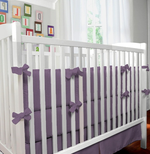 Grey And Purple Crib Bedding