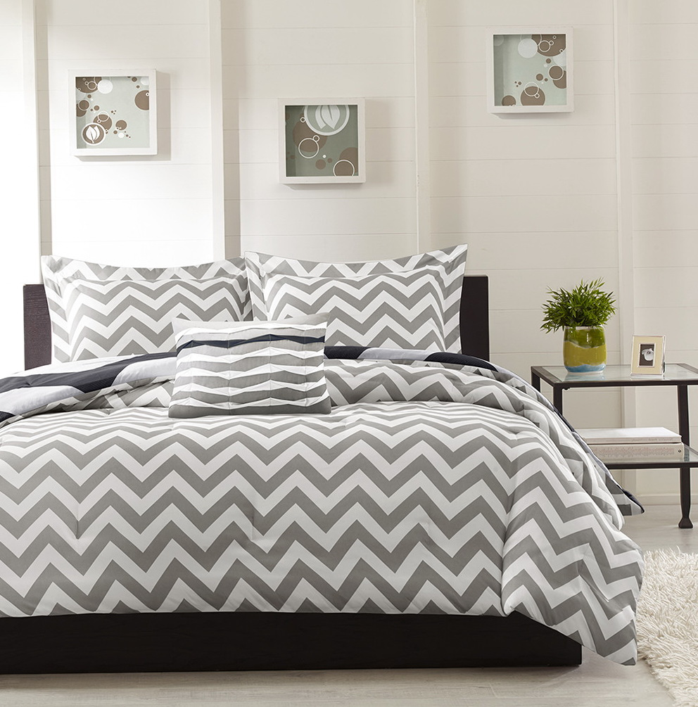 Grey Chevron Bedding Queen
