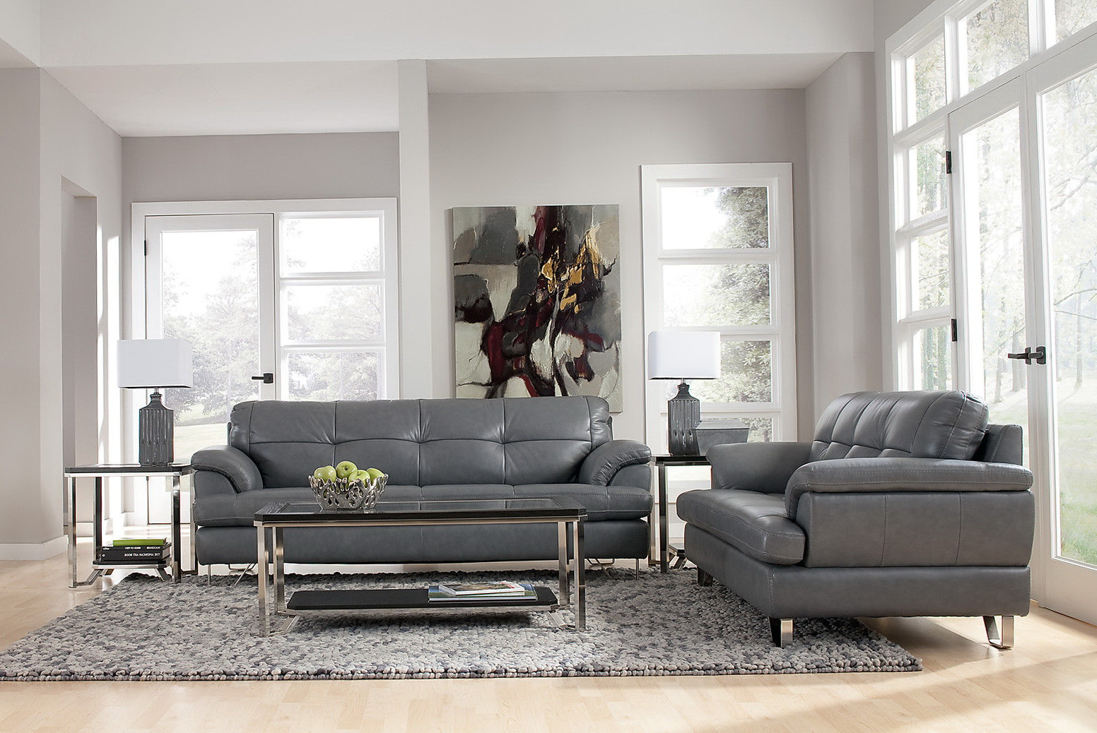 Grey Leather Living Room Set