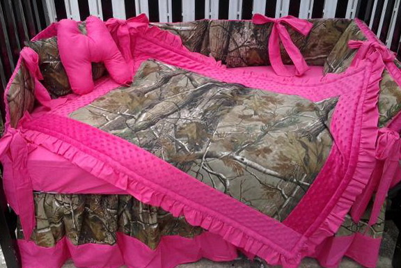 Hot Pink Camo Crib Bedding