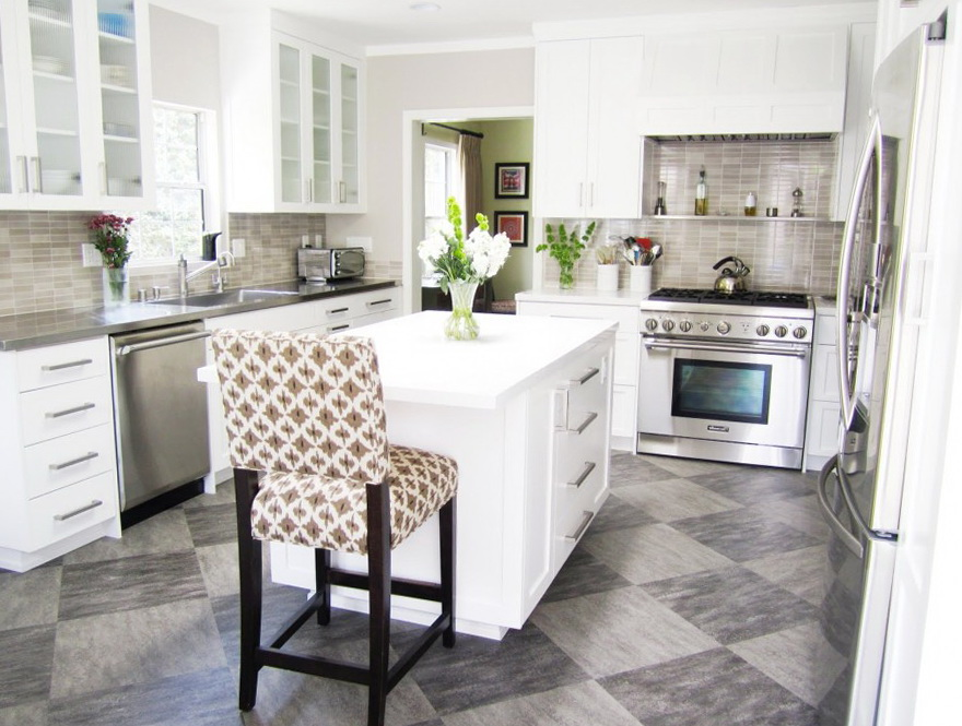 Kitchen Floor Tile White Cabinets
