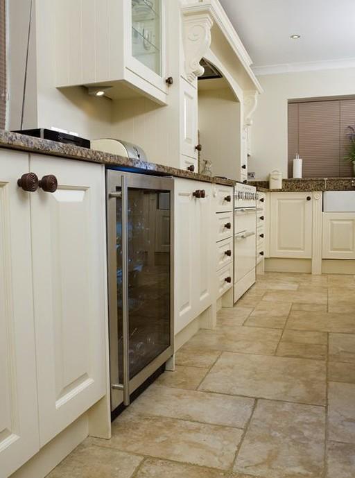 Kitchen Tile Flooring White Cabinets
