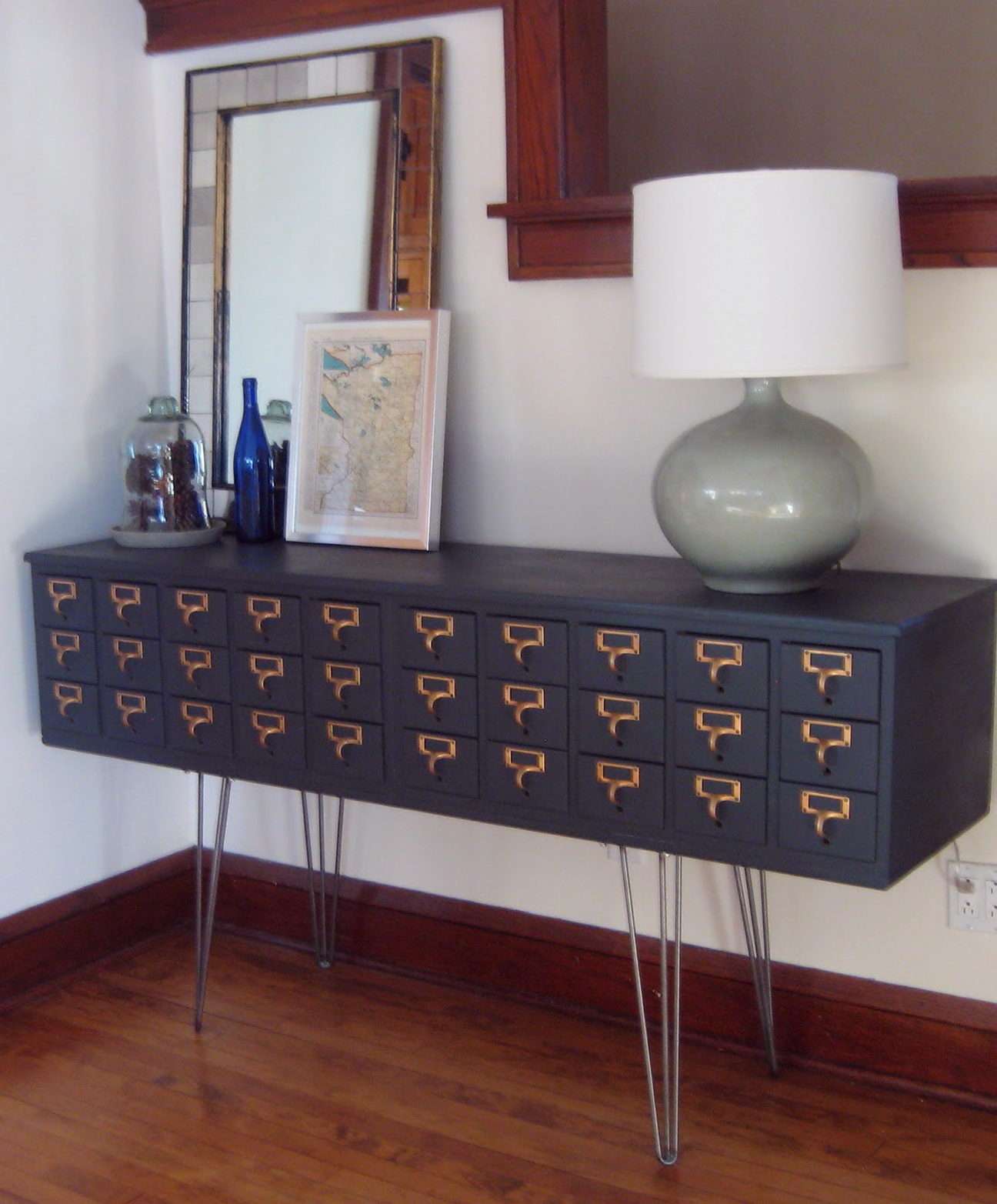 Metal Card Catalog Cabinet