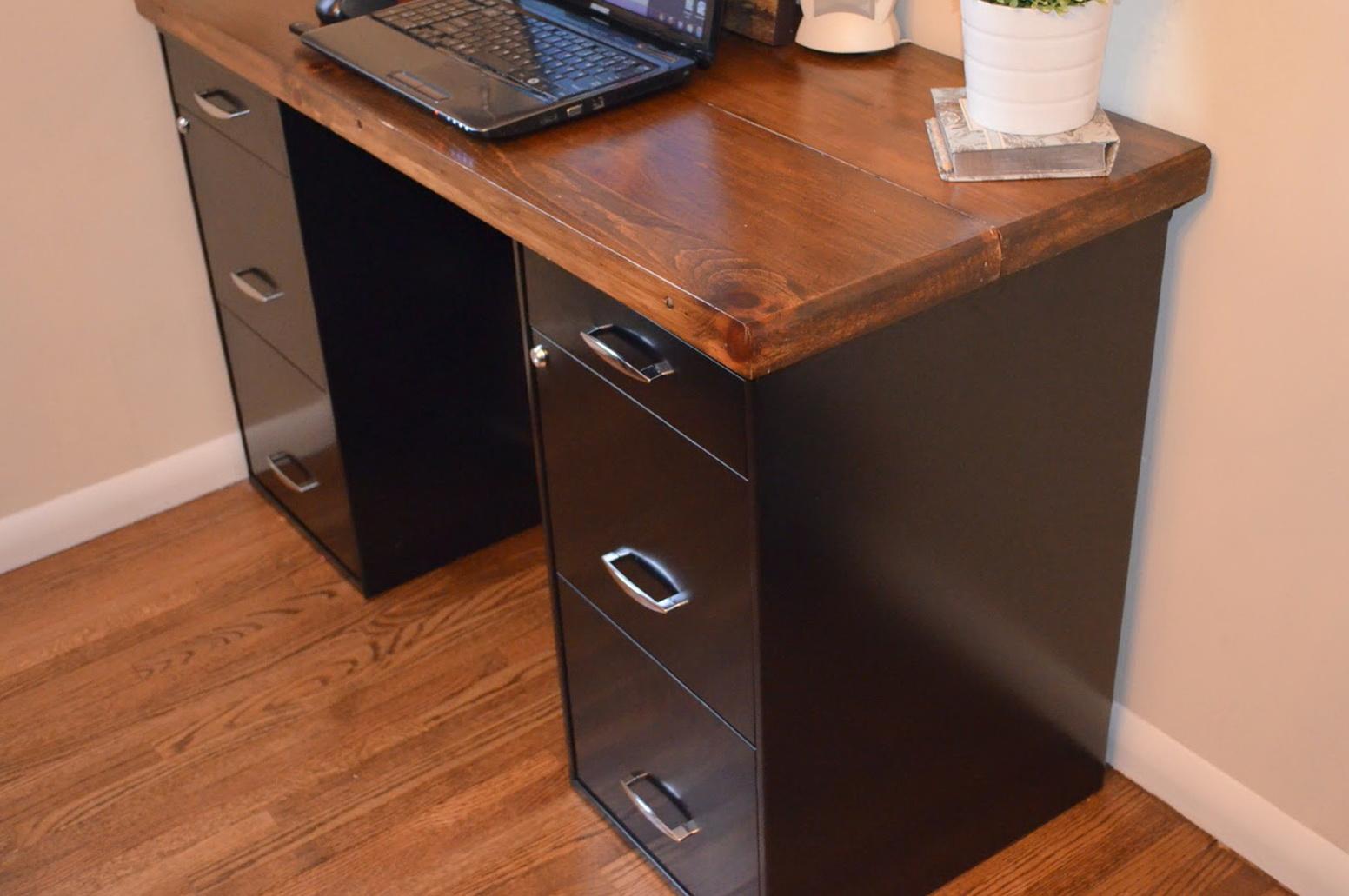 Metal File Cabinet Desk