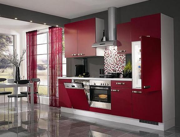 Modern Red Kitchen Cabinets