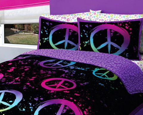 Neon Peace Sign Bedding