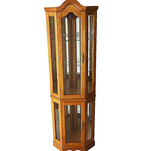 Oak Corner Curio Cabinet