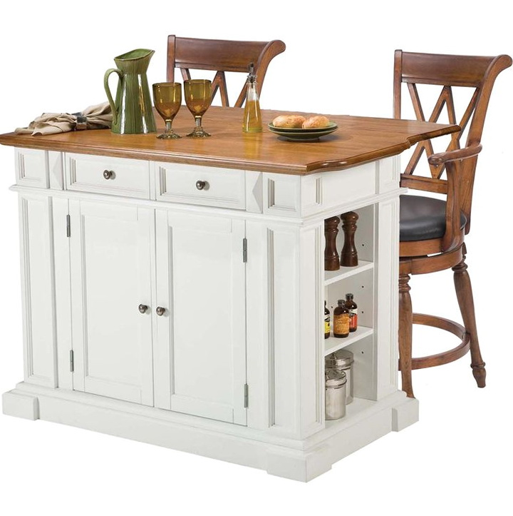 Oak Kitchen Island With Stools