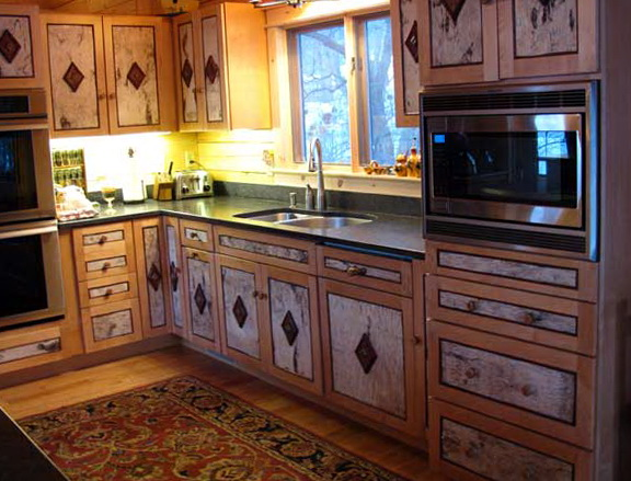 Painted Rustic Kitchen Cabinets