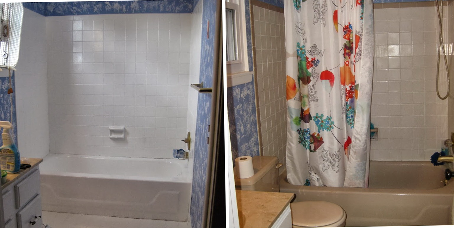 Painting Bathroom Tile Before And After