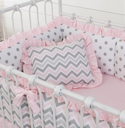 Pink And Grey Chevron Bedding