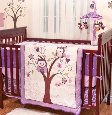 Pink Owl Baby Bedding