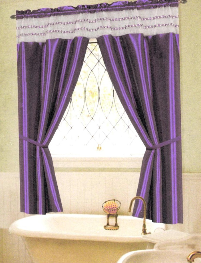 Purple Bathroom Window Curtains