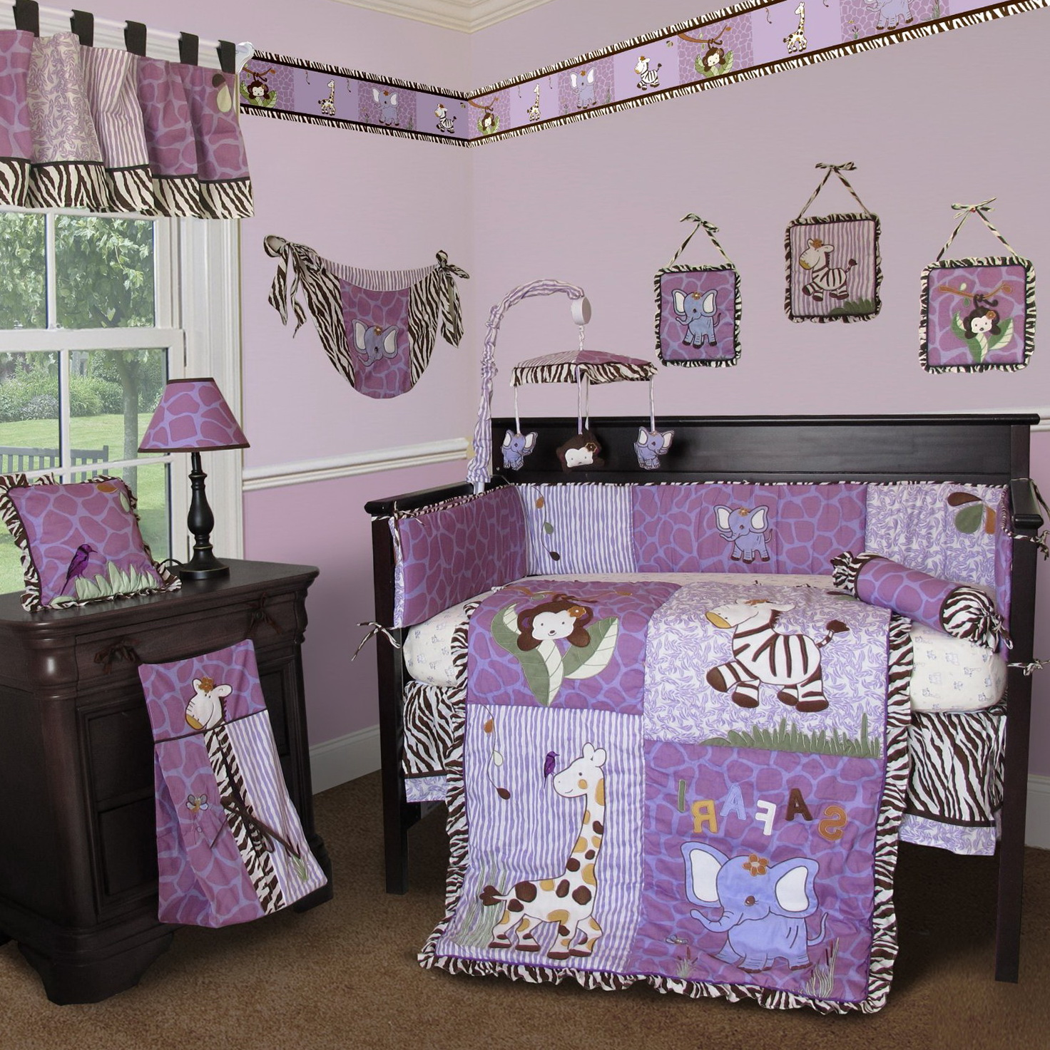 Purple Giraffe Baby Bedding
