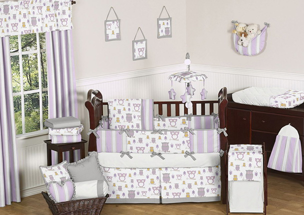 Purple Owl Nursery Bedding