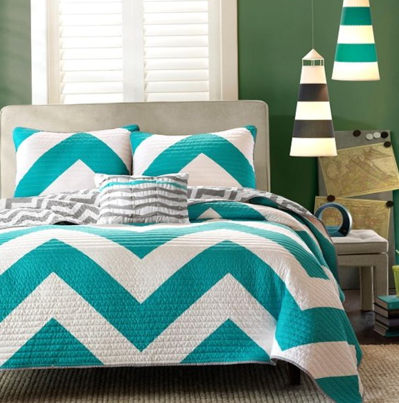 Teal And Grey Chevron Bedding