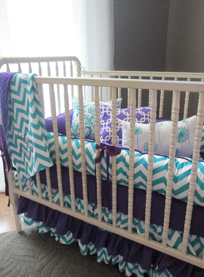 Teal And Purple Baby Bedding