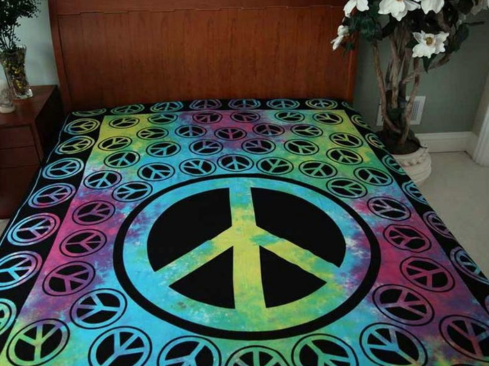 Tie Dye Peace Sign Bedding