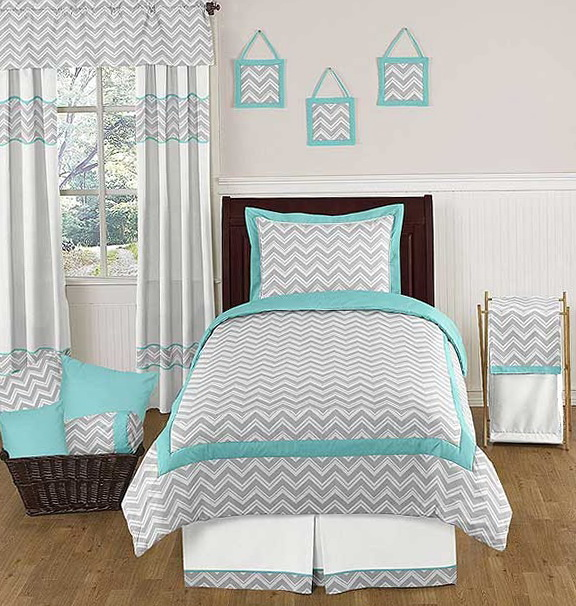 Turquoise And Grey Chevron Bedding