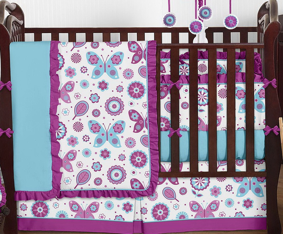 Turquoise And Purple Baby Bedding