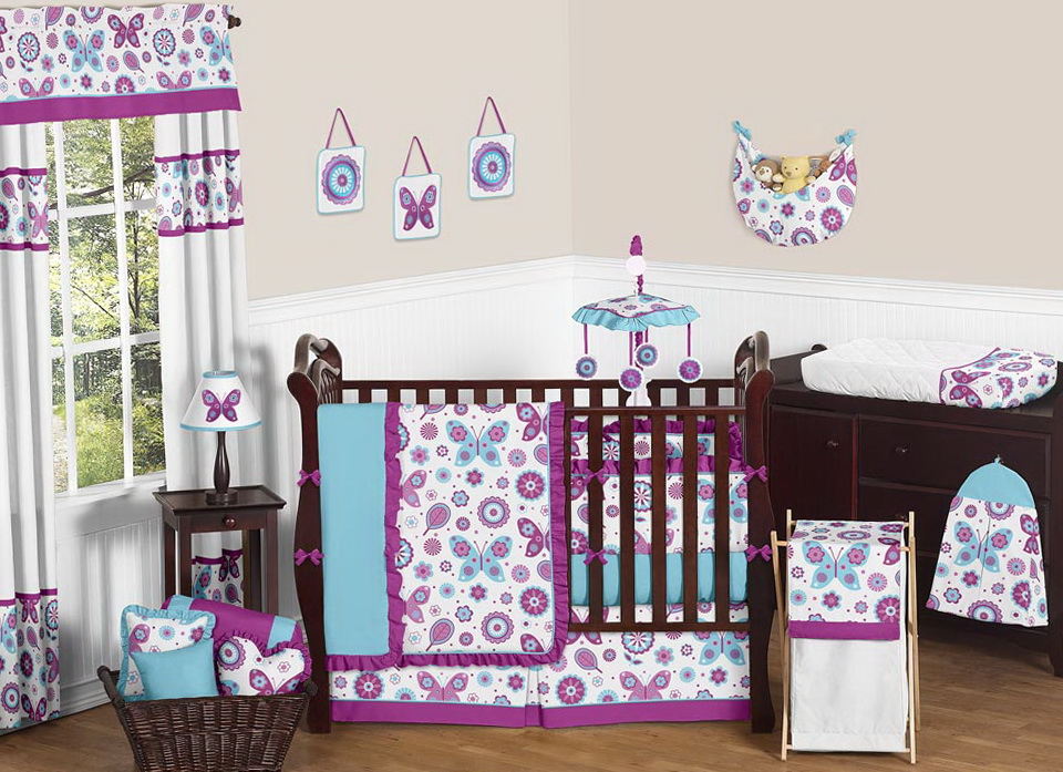 Turquoise And Purple Crib Bedding