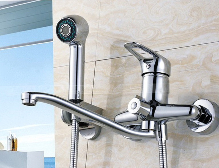 Wall Mount Kitchen Faucet With Pull Out Spray