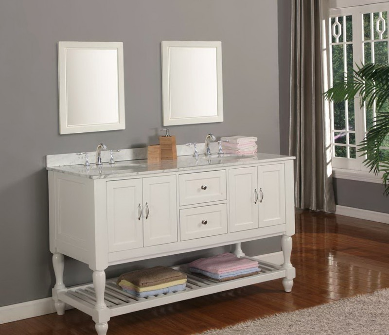 White Bathroom Vanities With Marble Tops