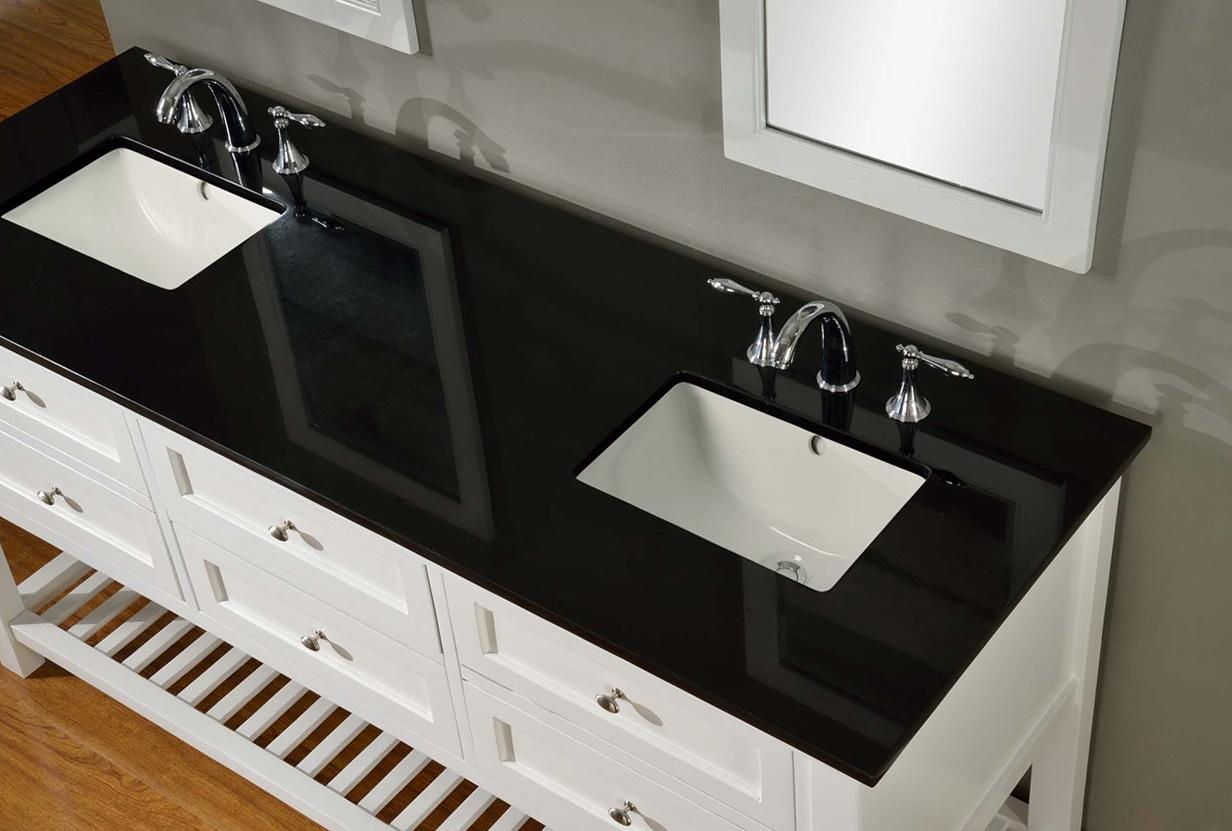 White Bathroom Vanity With Black Granite Top