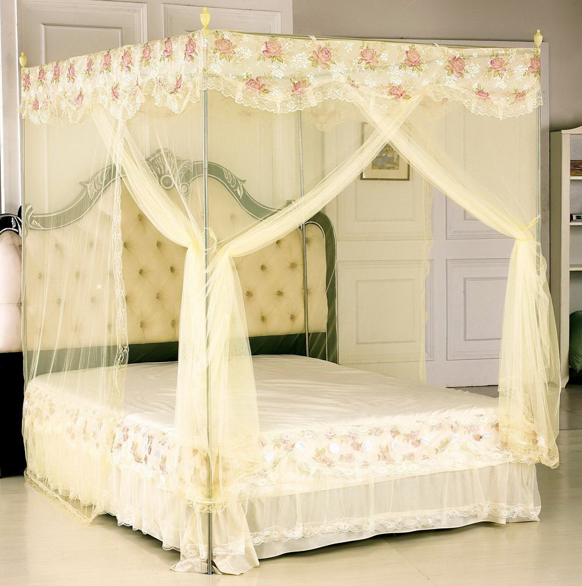 White Canopy Bed Curtains