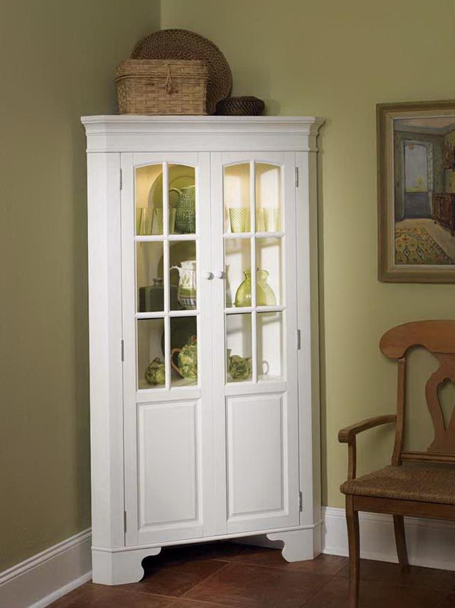 White Corner Curio Cabinet